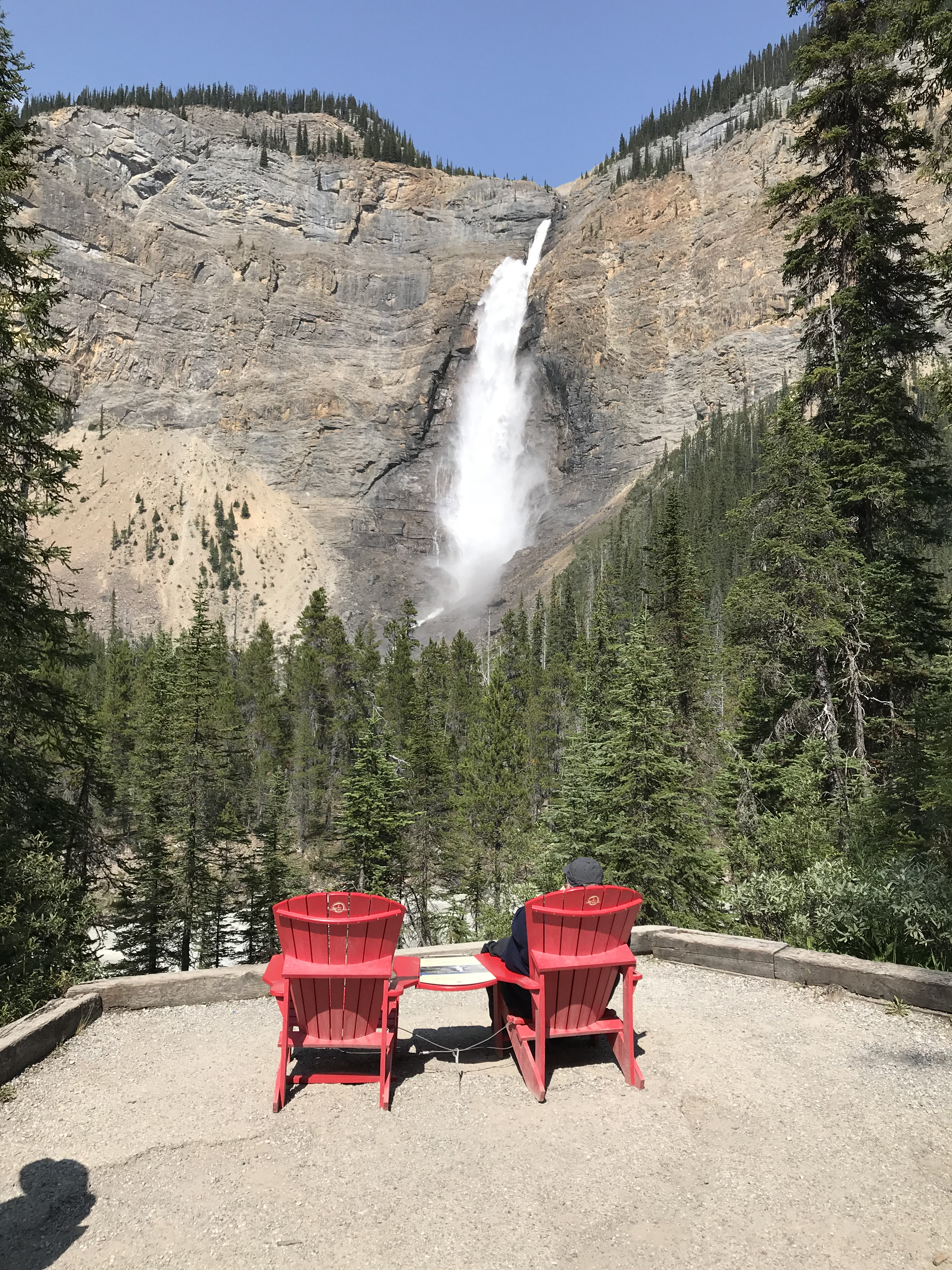Red chairs at Takakkaw falls
